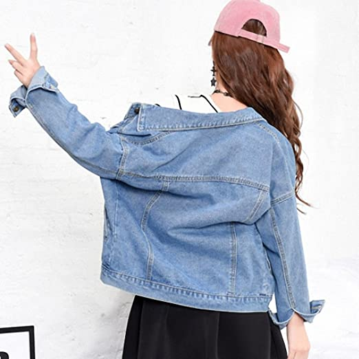 Huiwa Womens Denim Jacket BF Wind Single Breasted Jeans Coat Long Sleeve at Amazon Womens Coats Shop