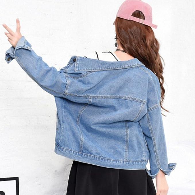 Huiwa Womens Denim Jacket BF Wind Single Breasted Jeans Coat Long Sleeve at Amazon Womens Coats Shop