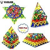 XUELIEE 103 pcs Educational Magnetic Sticks Building Blocks Toys, Magnetic Tiles Construction Blocks 3D Educational Toy Set for Kids (103pcs+bag)