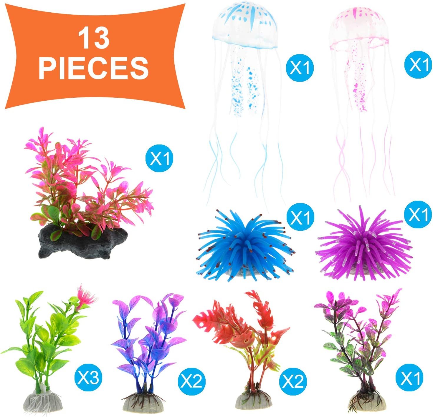 GreenJoy Aquarium Decorations Fish Tank Decor 13 Pack Fish Cave Ornament Plastic Plants Christmas Pumpkin Anemones Artificial Aquatic Plants Halloween Small