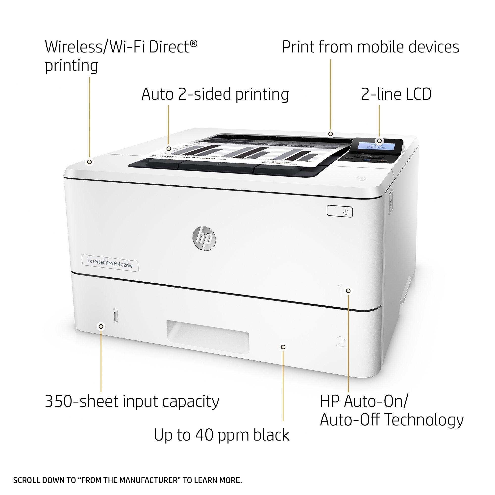HP LaserJet Pro M402dw Wireless Monochrome Printer (C5F95A#BGJ) by HP (Image #2)