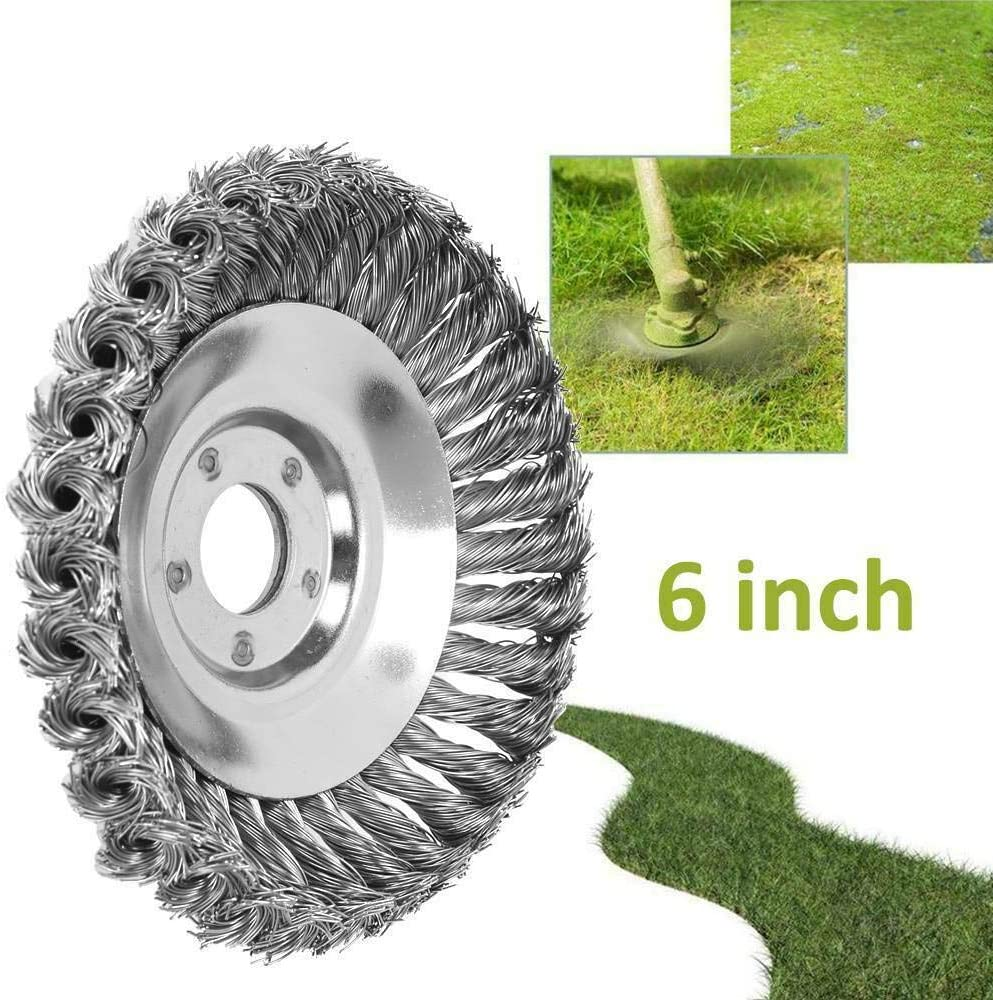 """KBINGO 6"""" Knotted Twist Steel Wire Wheel Brush Grass Trimmer Head, Brush Cutter Weed Eater Head Suitable for Straight-Shaft Garden Pole Tools"""