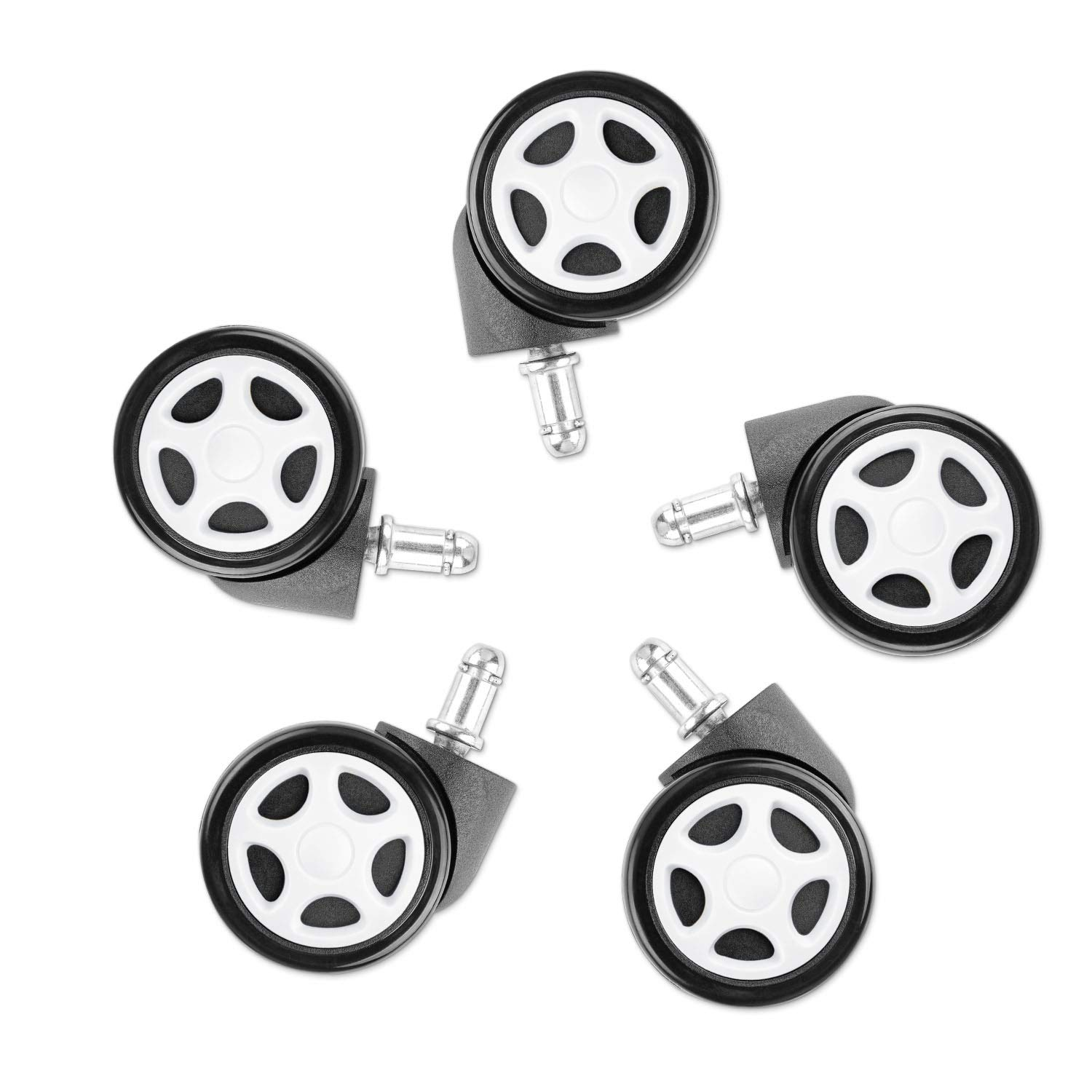 Devoko Premium Office Chair Wheels Suiting All Types of Flooring Perfect Mute Gaming Chair Caster Wheels Heavy Duty Roller Easy to Install Set of 5 Black