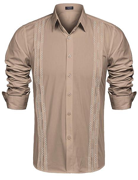 Hombre De Guayabera Diseño Larga Para Coofandy Camisa Manga Xf1g1q