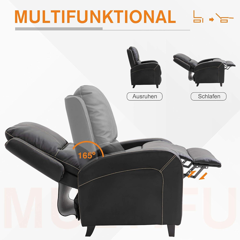 HOMCOM Massagesessel Fernsehsessel Relaxsessel Heizfunktion Fu/ßst/ütze 90-165/° PU Braun 70 x 93 x 100 cm