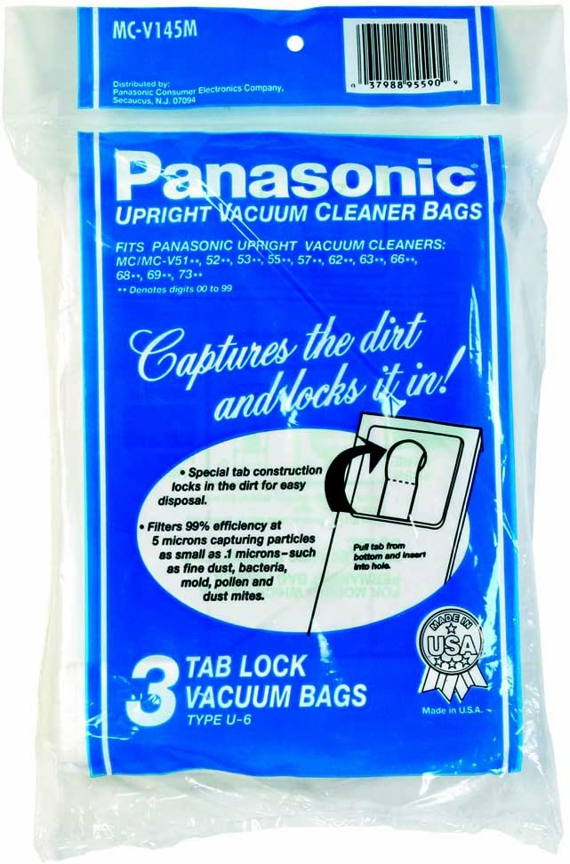 Panasonic MC-V145M Type U-6 Tab Lock Micron Paper Bag, 3-Pack