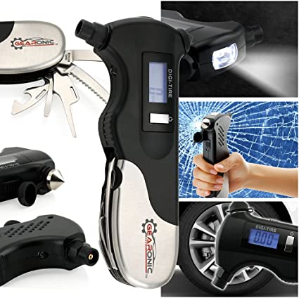 Auto Multi Emergency Tool Glass Break,Tire Gauge Belt Cutter Pressure Gauge Air