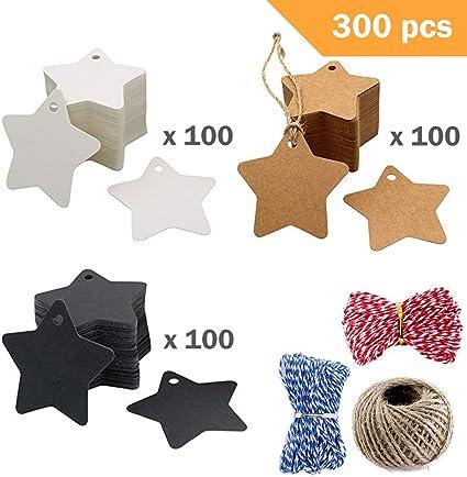 vacances Weimay Lot de 100//étiquettes en papier kraft en forme d/étoile pour cadeaux d/écoration No/ël f/êtes  6*6cm blanc mariage loisirs cr/éatifs pour Thanksgiving