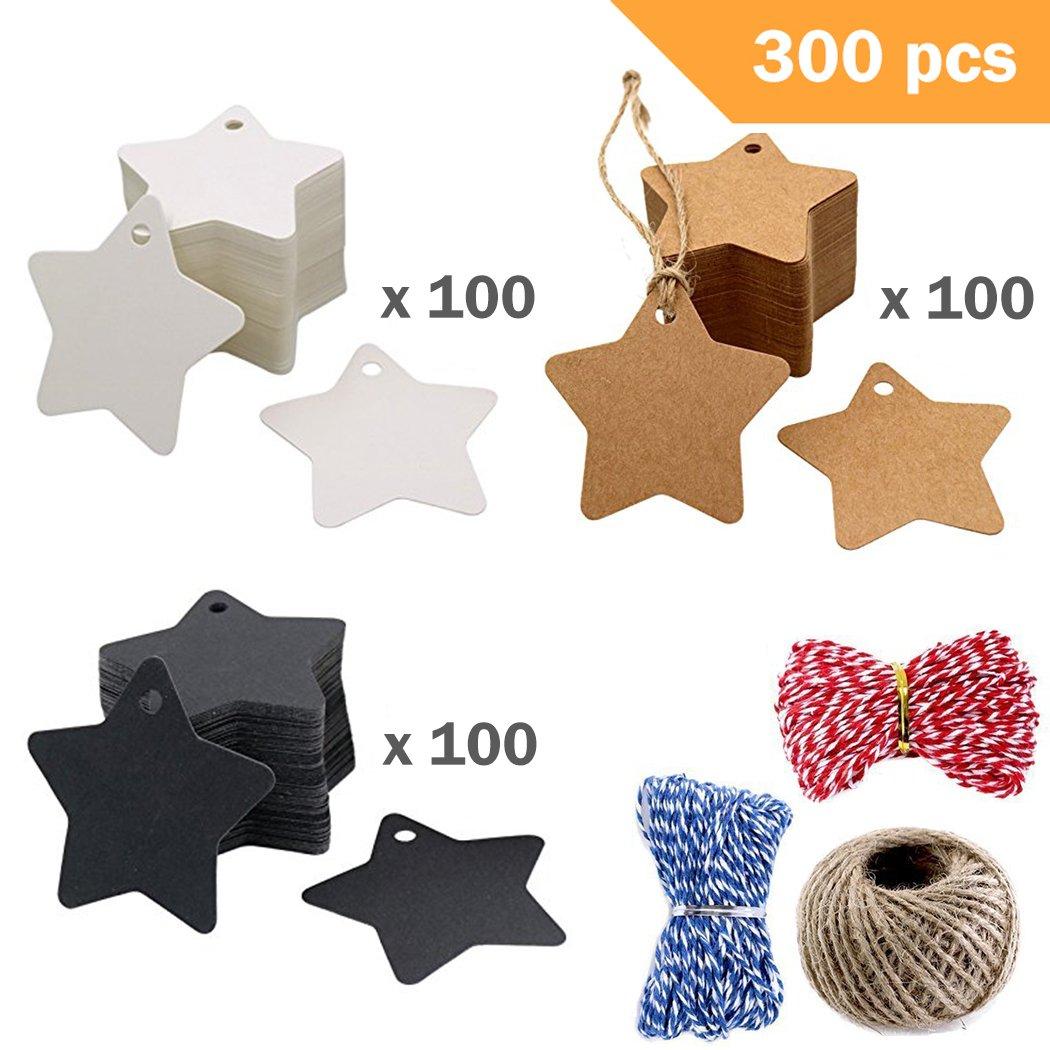 300 Forme d/étoile Papier Kraft /Étiquett en Carton Kraft avec 3 Styles Artisanat Ficelles