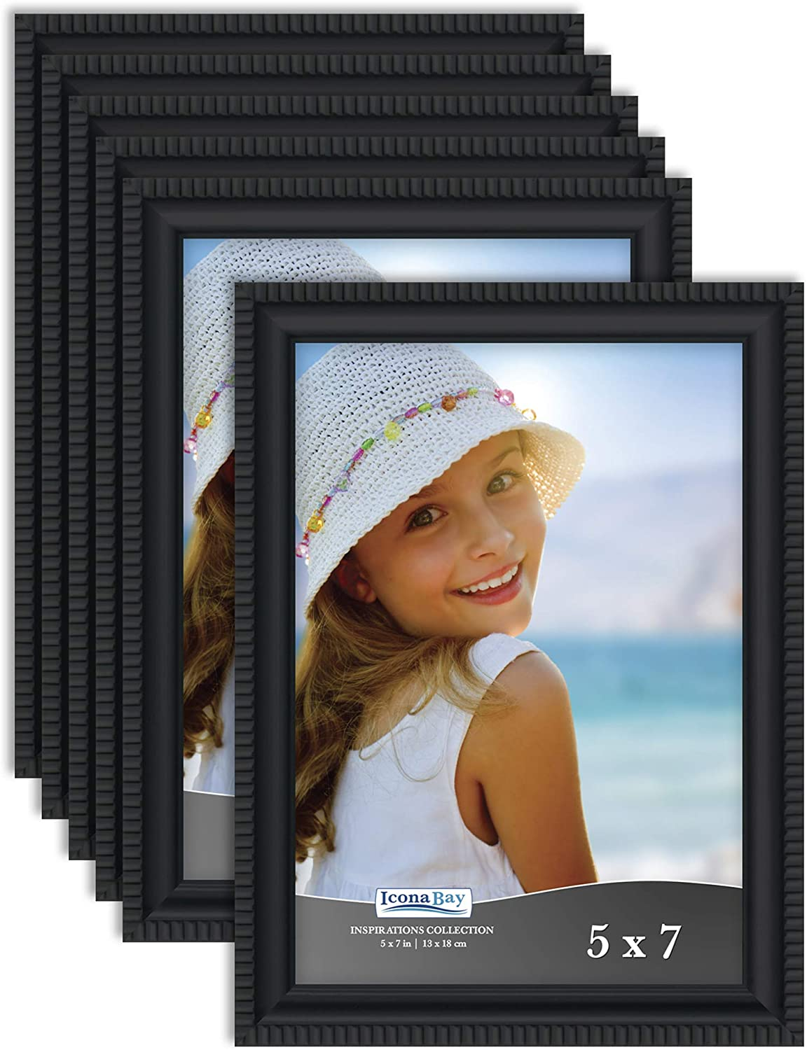 Icona Bay 5x7 Picture Frames (Black, 6 Pack), Beautifully Detailed Molding, Contemporary Picture Frame Set, Wall Mount or Table Top, Inspirations Collection
