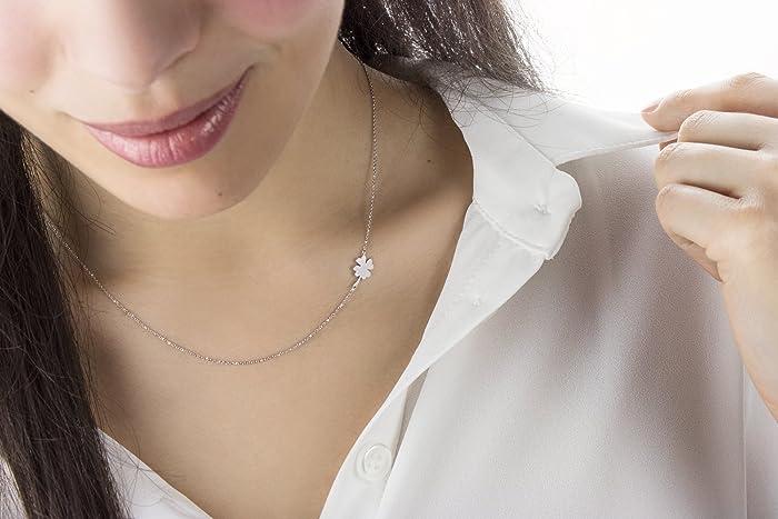 a3e094c2a Amazon.com: Lucky Clover Necklace, 9K, 14K, 18K Gold Necklace, White ...