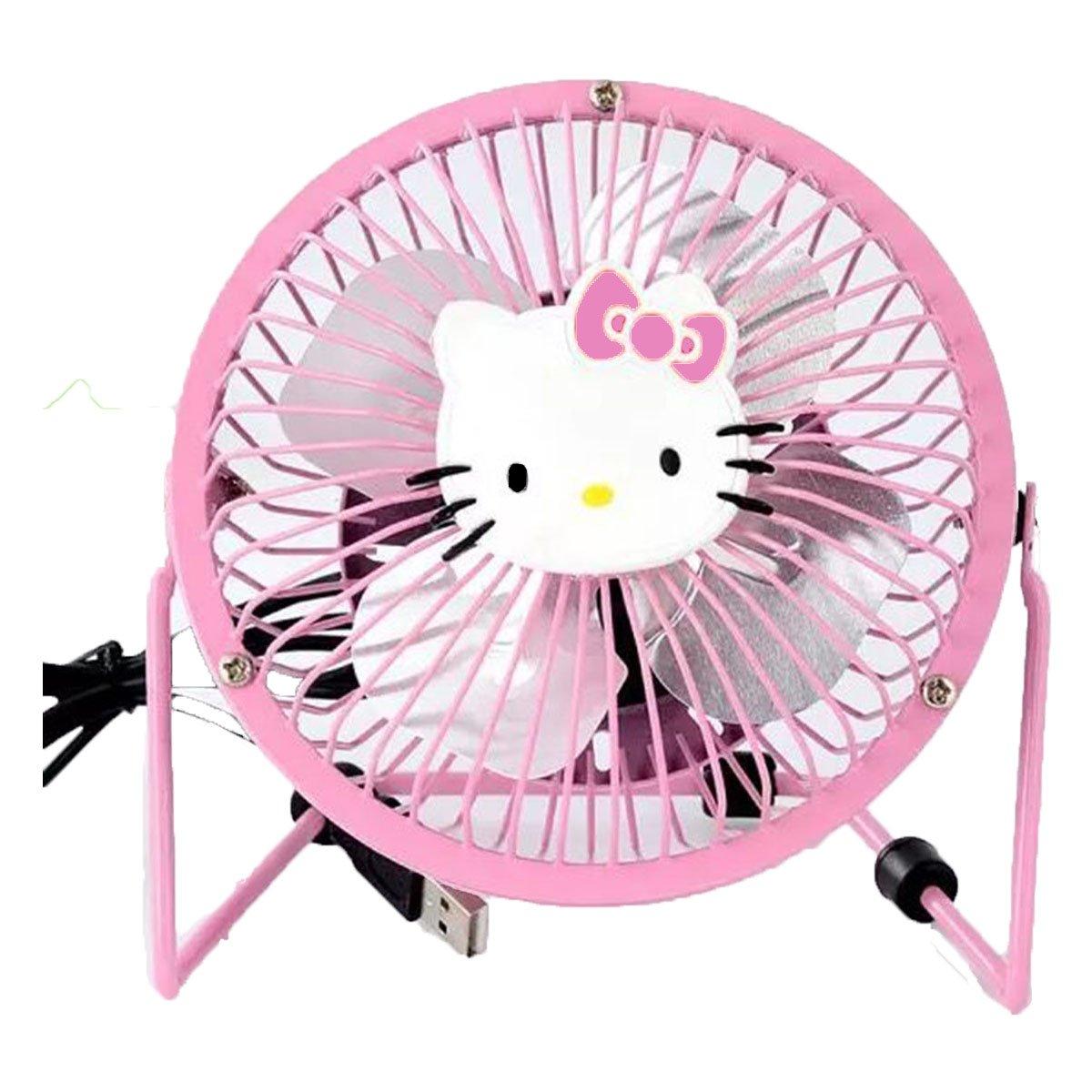 Mini USB Fan, 360 Degree Rotation Portable Hello Kitty Fan, Mental Design USB Powered Quiet 4in Table Fan for Dorm Office Travel + ONE phone Fan