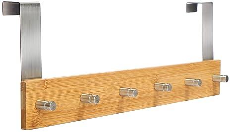 com-four® Armario de bambú con 6 Ganchos para Puerta - Perchero de Pared para Colgar en la Puerta (01 Pieza - bambú)