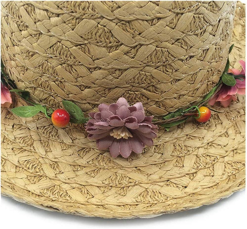 Beauty Floral Sun Hat Children Straw Hats with Garland Large Brim Girls Beach Hats Parent-Child,Beige Sunbonnet,Adult