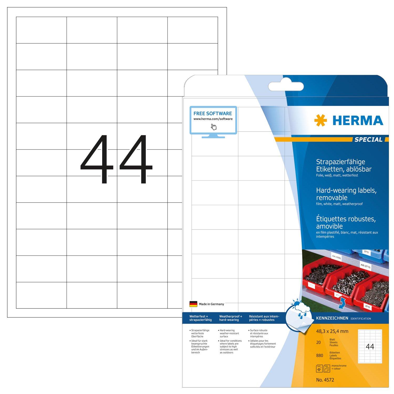 HERMA 4572 Rimovibile Bianco 880pezzo i etichetta autoadesiva