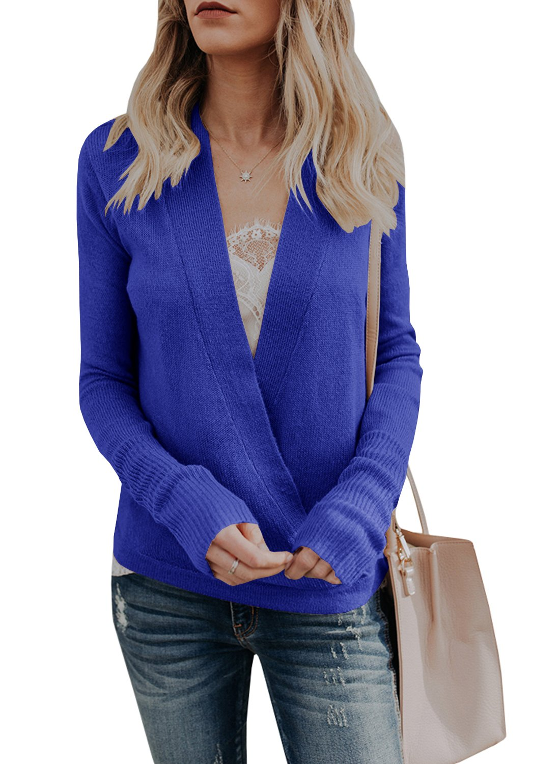 Nulibenna Womens Wrap Deep V Neck Sweater Knitted Long Sleeve Pullover Fall Tops