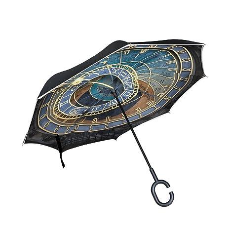 COOSUN La capa de reloj astronómico de Praga doble del paraguas invertido inversa para el coche