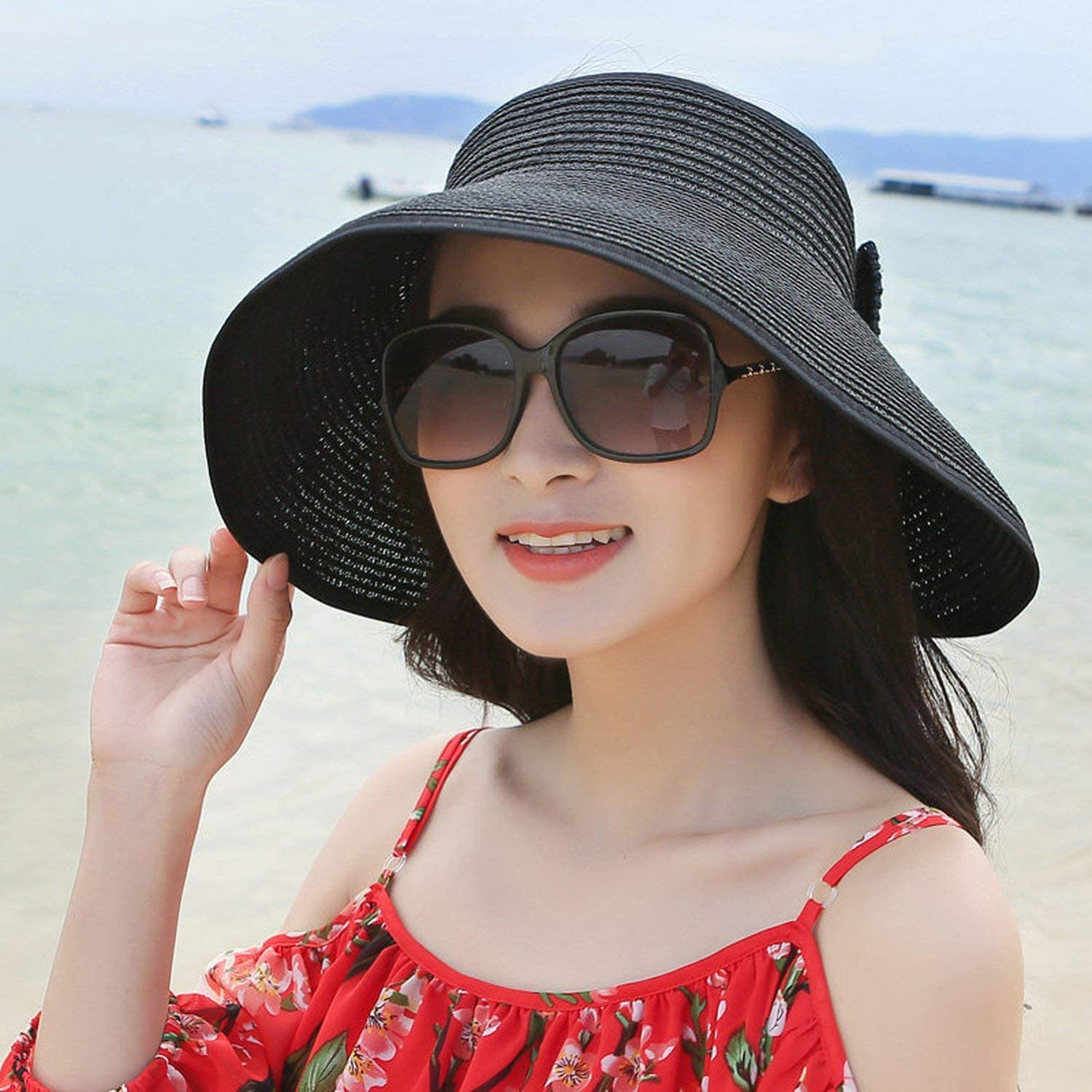 Straw Hat Visors Cap Foldable Wide Large Brim Sun Hat Beach Hats Straw Hat Wholesale Chapeau,Pink,55-58Cm