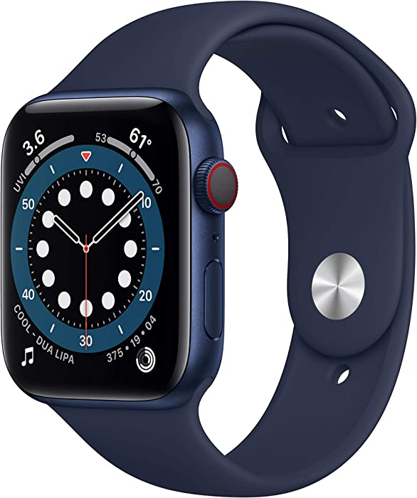 AppleWatch Series 6 (GPS + Cellular, 44mm) - Blue Aluminum Case with Deep Navy Sport Band (Renewed)