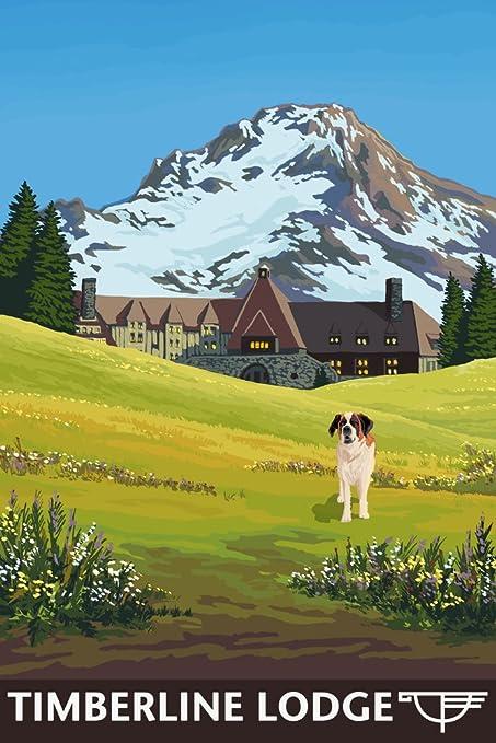 Amazon.com: Timberline Lodge - Spring - Mt. Hood, Oregon (9x12 Art ...
