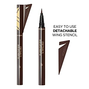 L'Oreal Paris Makeup Flash Cat Eye by Infallible, Waterproof Liquid Eyeliner, Easy-To-Use Brush Tip, Detachable Stencil for Winged Eyeliner, Precise Cat Eyes in a Flash, Brown, 0.02 fl. oz.