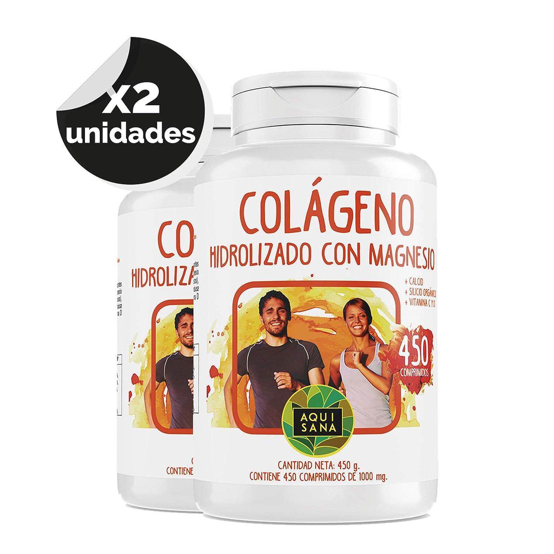 Colágeno Hidrolizado - Aquisana con Magnesio y Calcio | Vitamina C | Vitamina D| Perfecto para la piel y articulaciones -450 comprimidos