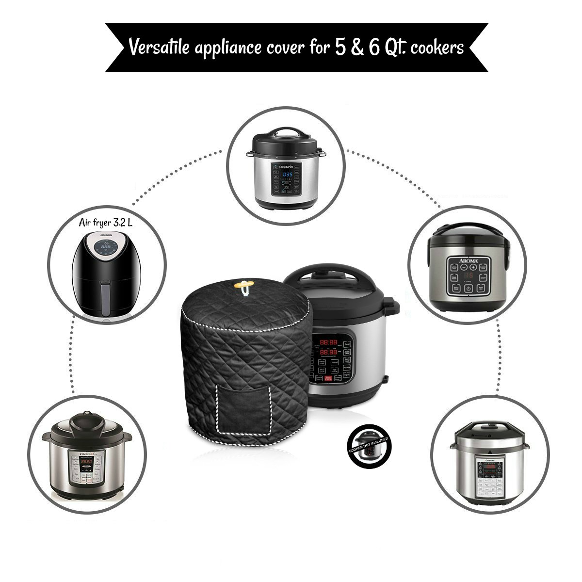 Black Decorative Cover For Electric Pressure Cookers Has Pocket For Accessories Fits 6QT Instant Pot Debbiedoo/' s FBA/_COMINHKG123175