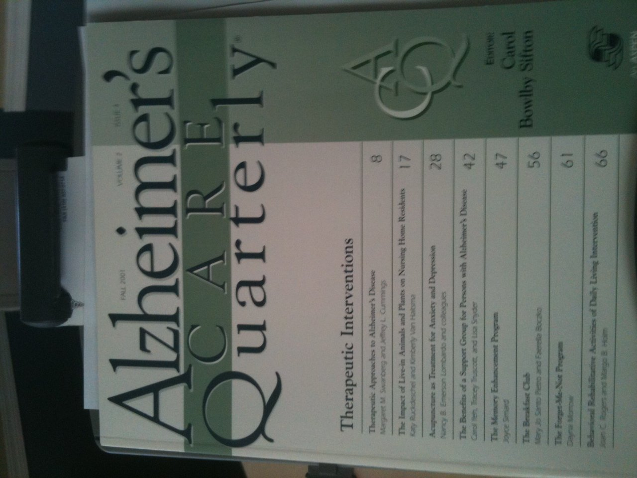 Read Online Alzheimer's Care Quarterly Journal: Theraputic Interventions: Fall 2001, Volume 2, Issue 4 (Alzheimer's Care Quarterly Journal, Fall 2001, Volume 2, Issue 4) ebook