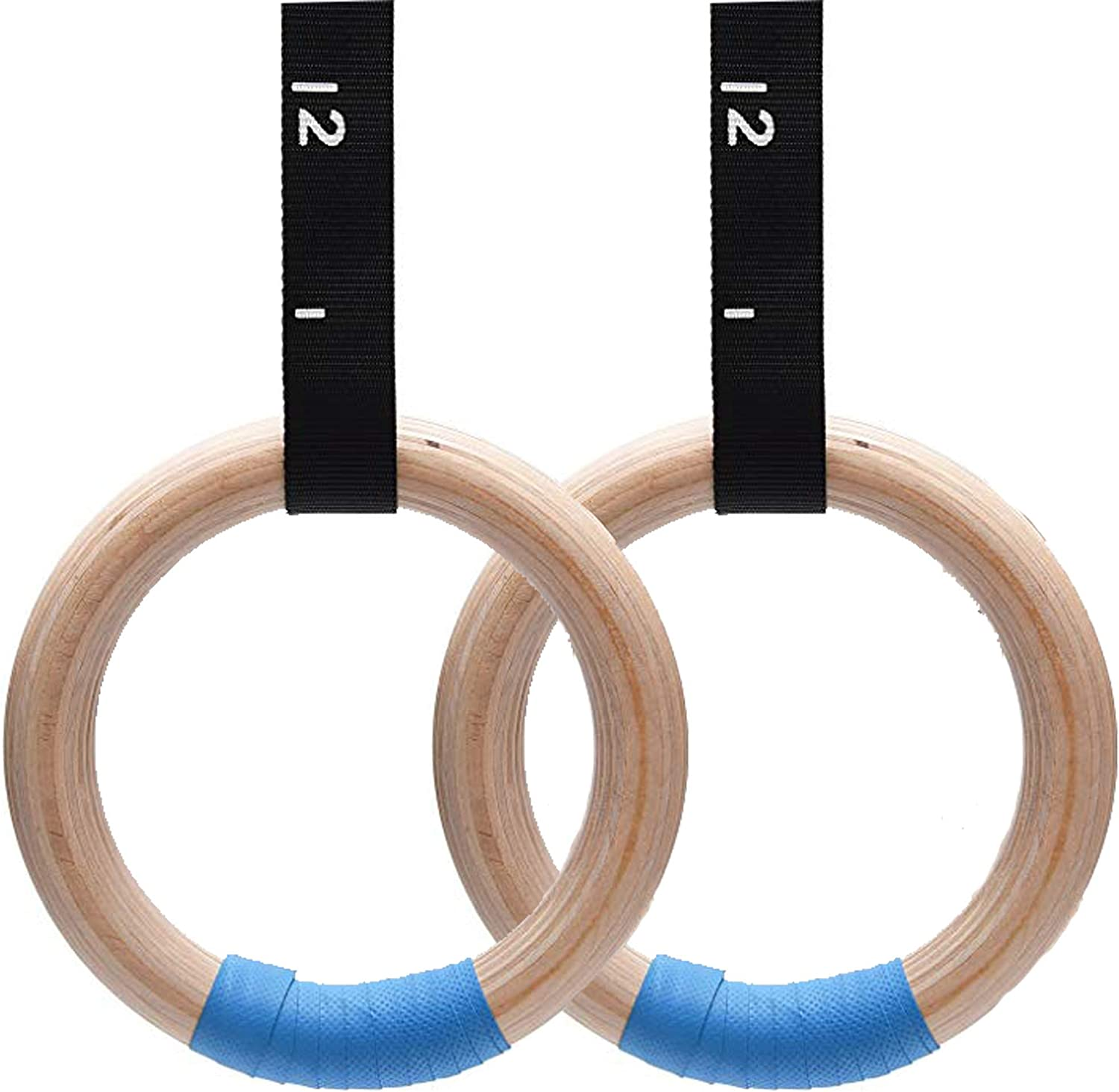 Gymnastic rings Calisthenics rings 28 mm thick Wooden HEAVY DUTY safety feature