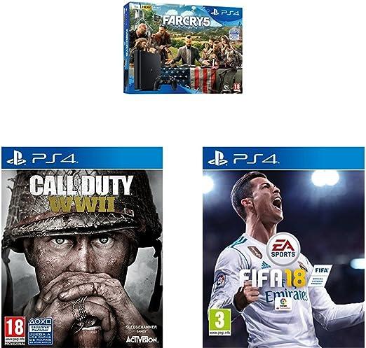 Playstation 4 (PS4) - Consola de 1 TB + Far Cry 5 + FIFA 18 + COD WWII: Amazon.es: Videojuegos