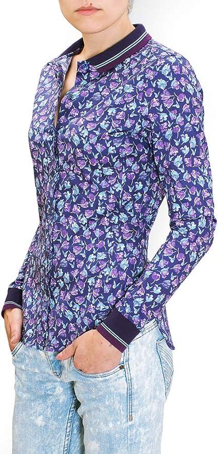 chaika Camisa Mujer Elegante & Original Manga Larga Estampada Blusa Violeta S: Amazon.es: Ropa y accesorios
