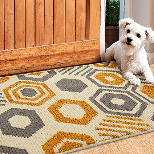 Color Geometry Indoor Doormat, Outdoor Indoor Mat 35 x59 , Waterproof, Non Slip Washable Quickly Absorb Moisture and Resist Dirt Rugs