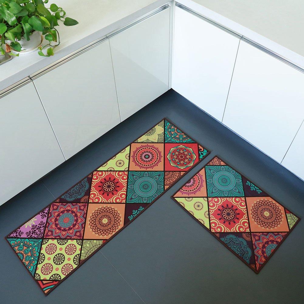 "Sobibo Non-Slip Kitchen Mat Runner Area Rug Doormat Set, 2 Pieces(15""x47""+15""x23"")"