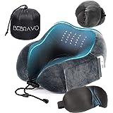 【令和最新改良版】ネックピロー 低反発 U型まくら BeBravo 飛行機 旅行用 昼寝 首枕 コンパクト 通気性が良く 軽量 携帯枕 3Dアイマスク 収納袋付き