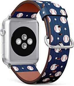 Compatible with Big Apple Watch 42mm & 44mm (Series 5, 4, 3, 2, 1) Leather Watch Wrist Band Strap Bracelet with Stainless Steel Clasp and Adapters (Baseball Sport)