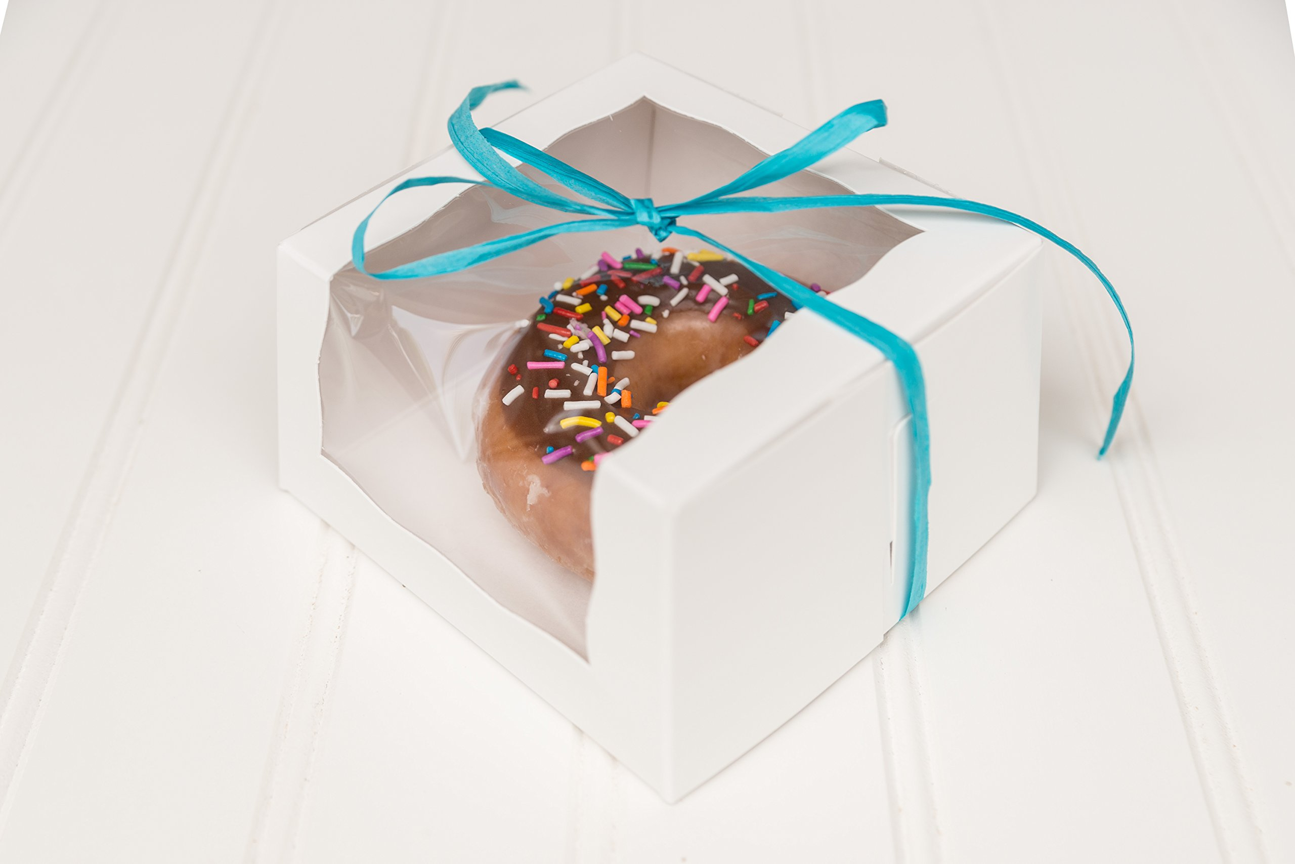 The Buttercup House 12 White Individual Donut Box with Wrap Around Window 4 x 4 x 2 1/2