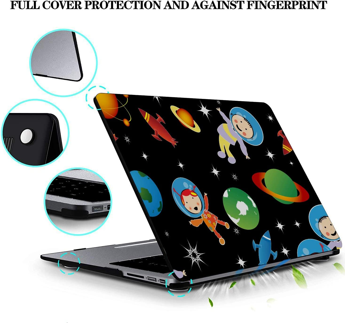 Mac Pro Cover Cartoon Space Shiny Solar System Planet Plastic Hard Shell Compatible Mac Air 11 Pro 13 15 MacBook Air 13 Accessories Protection for MacBook 2016-2019 Version