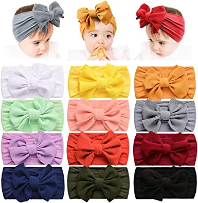 Newborn Bow Knot Baby Elastic Headband Headwear Girl Turban Nylon Hairband