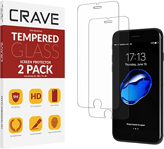 Crave Glass Screen Protector for Apple iPhone 8 Plus - 7 Plus - 6s Plus - 6 Plus [2-Pack] HD Tempered Glass