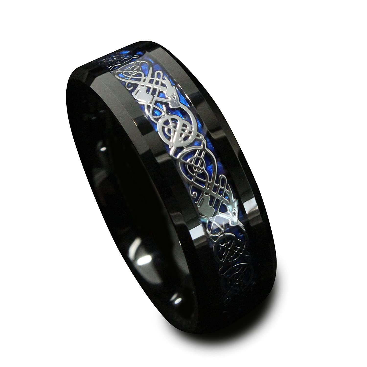 Queenwish 8mm Black Tungsten Carbide Ring Silvering Celtic Dragon