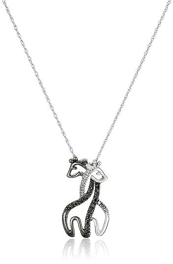 Amazon 10k white gold black and white diamond giraffe pendant 10k white gold black and white diamond giraffe pendant necklace 09 cttw aloadofball Image collections