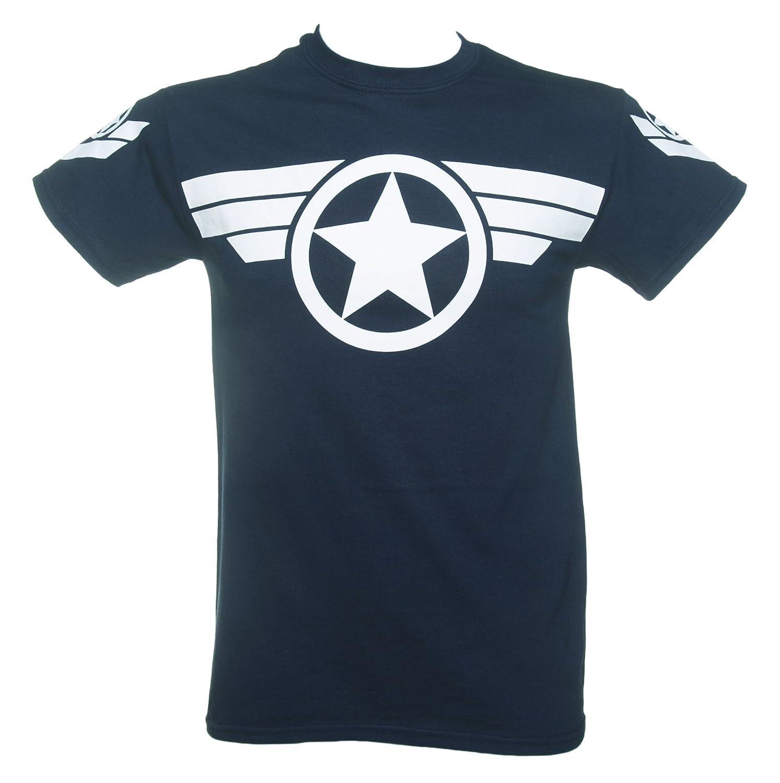 Design t shirt uk - Mens Navy Steve Rogers Super Soldier Captain America Uniform Marvel T Shirt Amazon Co Uk Clothing