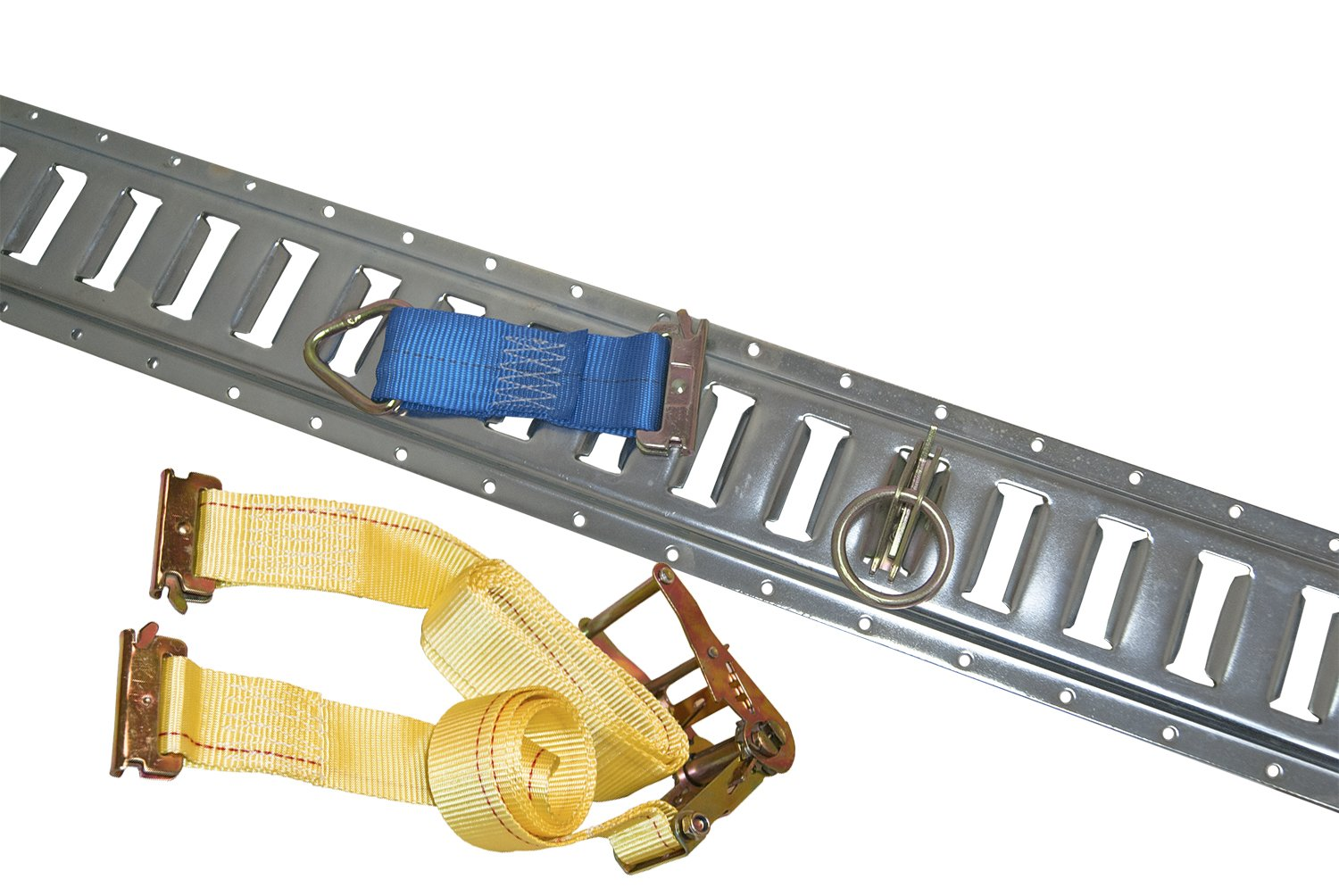 (8) 5' Grey E-Track w/ 8 Ratchet Straps, 8 O Rings and 8 Tie Downs for Trailers