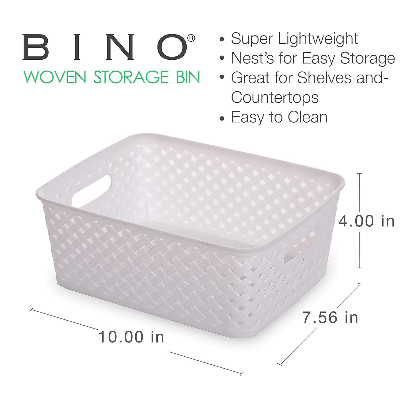 BINO Woven Plastic Storage Basket 3PK- L, Light Grey