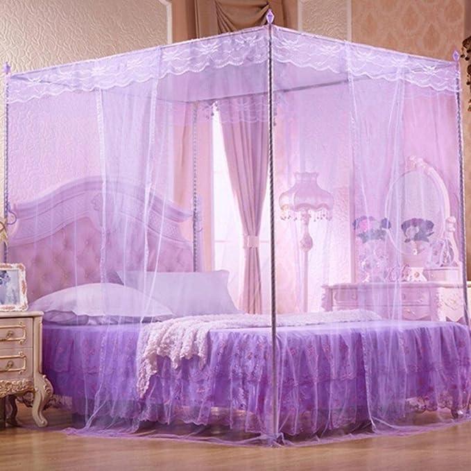 gloryhonor rom/ántica princesa encaje Canopy mosquitera sin marco de doble Full Queen King cama beige Matrimonio doble