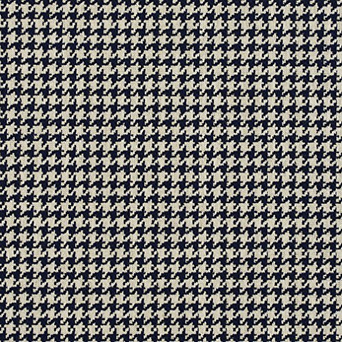 Dark Blue and White Houndstooth Tapestry Upholstery Fabric by the yard (Upholstery Fabric Houndstooth)