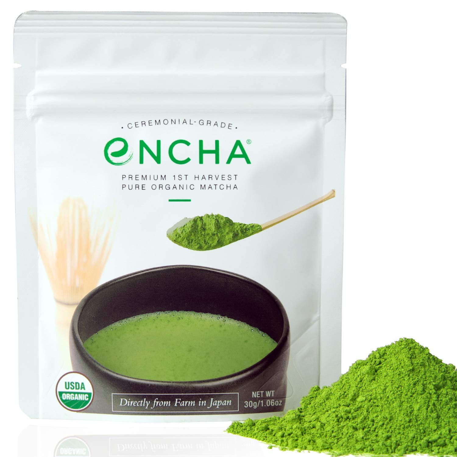 Encha Ceremonial Organic Matcha (USDA Organic Certificate and Antioxidant Content Listed, Premium First Harvest Directly from Farm in Uji, Japan, 30g/1.06oz in Resealable Pouch) by Encha (Image #1)