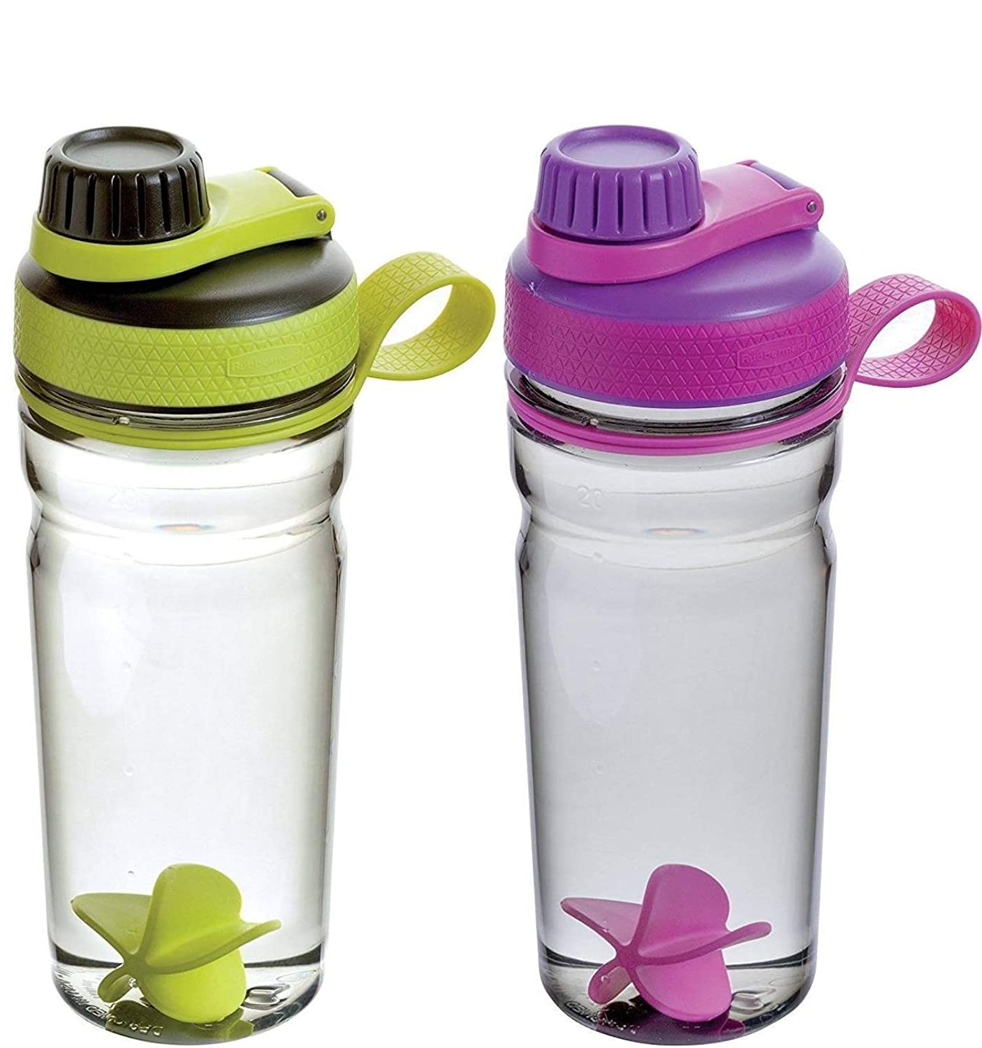 Rubbermaid Shaker Bottle-Odor & Stain Resistant-Great for Mixing Protein Shakes, Juices, Smoothies-BPA-Free, Finger Loop, Five-Sided Paddle Ball for Blending, 20oz, Green/Black & Purple -2 Pack