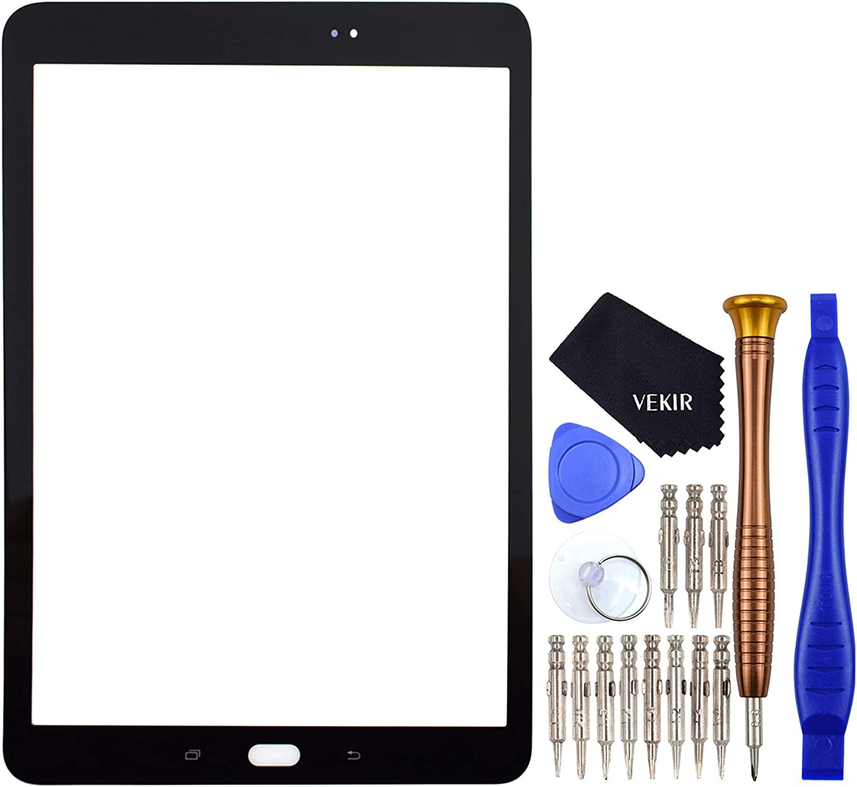 VEKIR Negro SM-T820 Reparaci/ón de Cristales de Pantalla reemplazo Compatible con Samsung Galaxy Tab S3 9.7