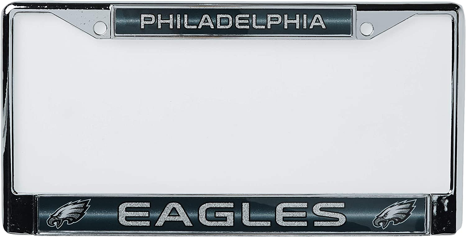 Rico Industries NFL Unisex-Adult Bling Chrome License Plate Frame with Glitter Accent